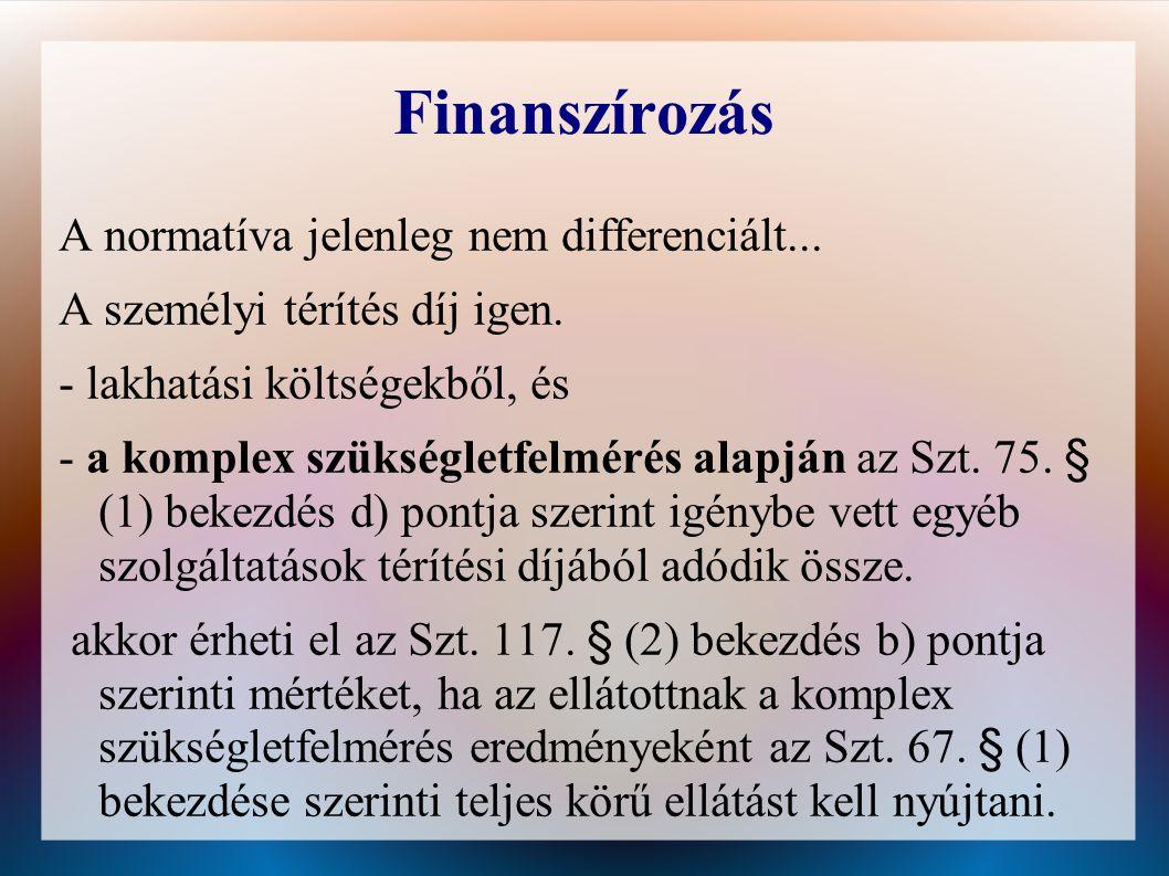Finanszírozás A normatíva jelenleg nem differenciált...