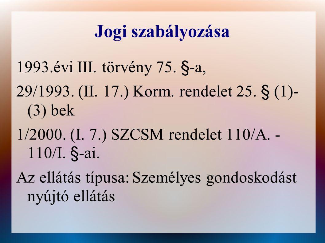 Jogi szabályozása 1993.évi III.törvény 75. §-a, 29/1993.