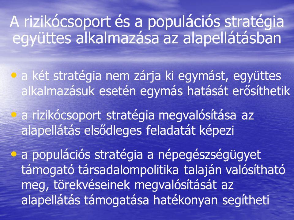 A rizikócsoport és a populációs stratégia együttes alkalmazása az alapellátásban • • a két stratégia nem zárja ki egymást, együttes alkalmazásuk eseté