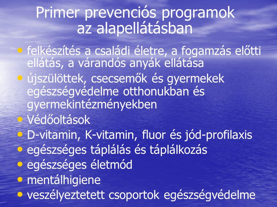 Primer prevenciós programok az alapellátásban • • felkészítés a családi életre, a fogamzás előtti ellátás, a várandós anyák ellátása • • újszülöttek,