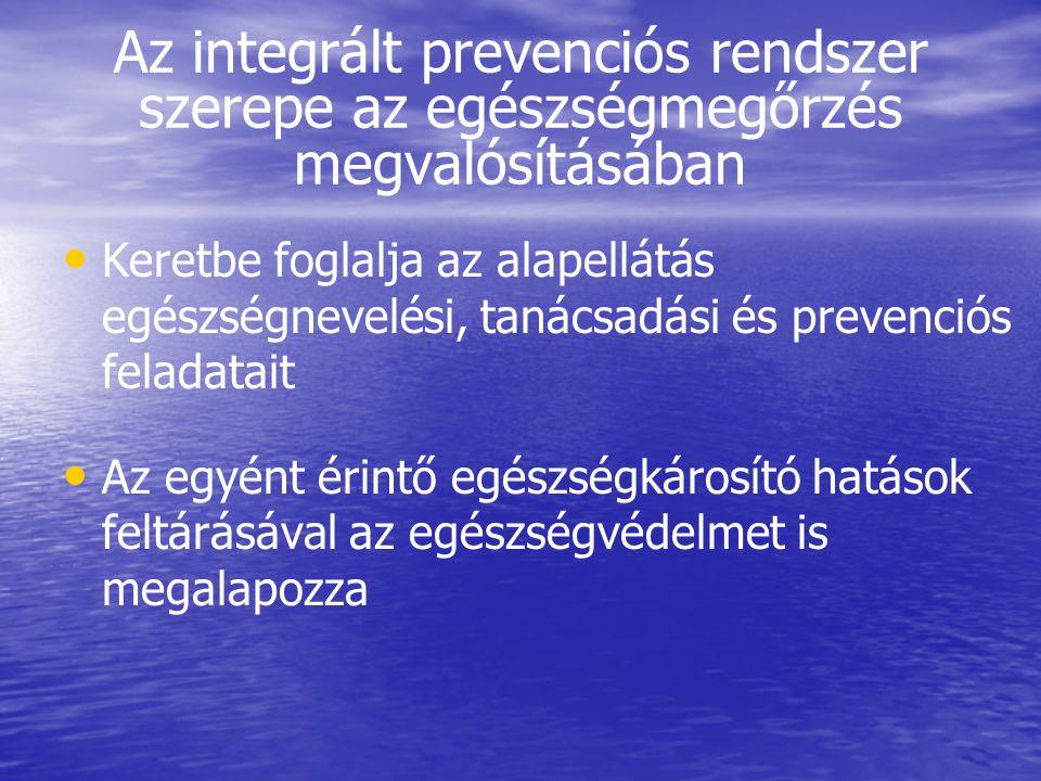 Az integrált prevenciós rendszer szerepe az egészségmegőrzés megvalósításában • • Keretbe foglalja az alapellátás egészségnevelési, tanácsadási és pre
