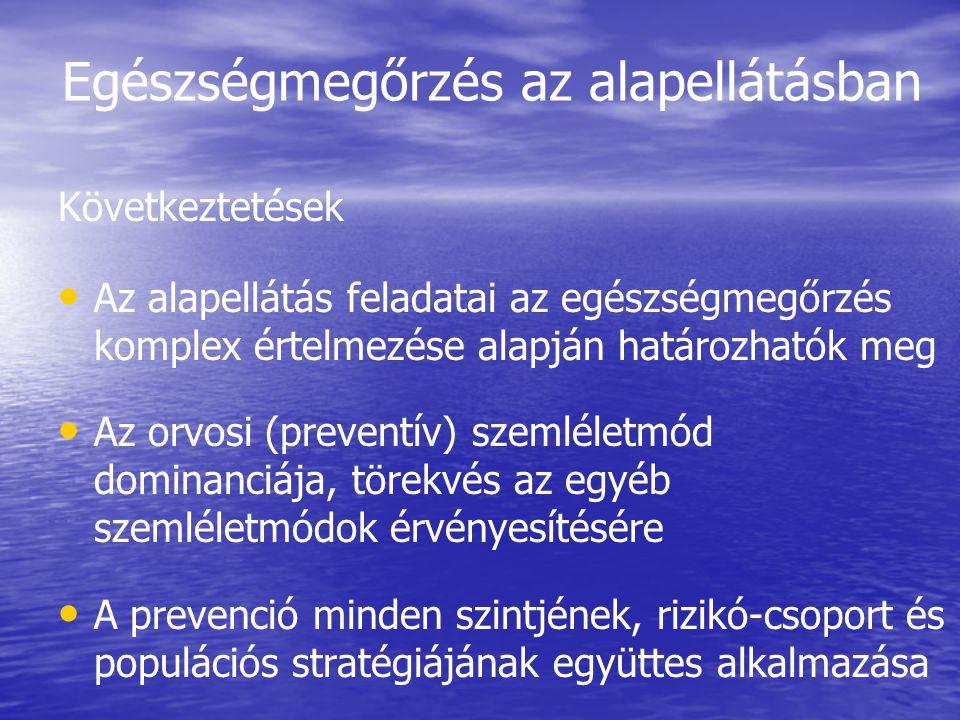 Egészségmegőrzés az alapellátásban Következtetések • • Az alapellátás feladatai az egészségmegőrzés komplex értelmezése alapján határozhatók meg • • A