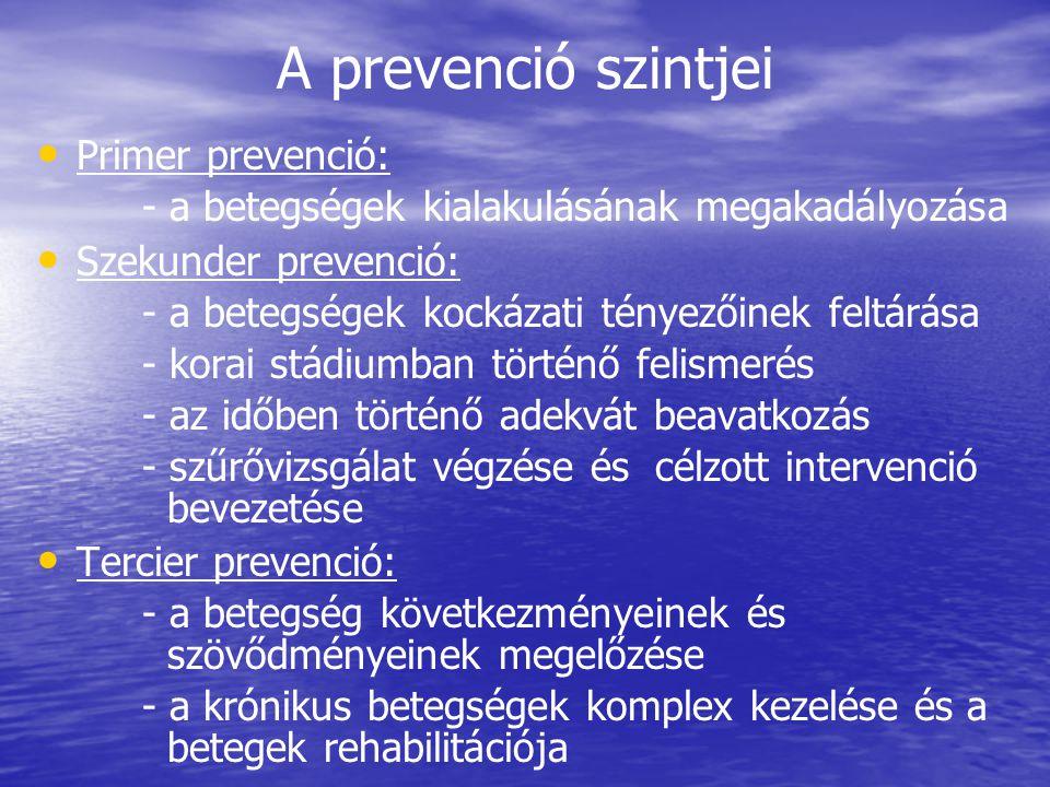 A prevenció szintjei • • Primer prevenció: - a betegségek kialakulásának megakadályozása • • Szekunder prevenció: - a betegségek kockázati tényezőinek