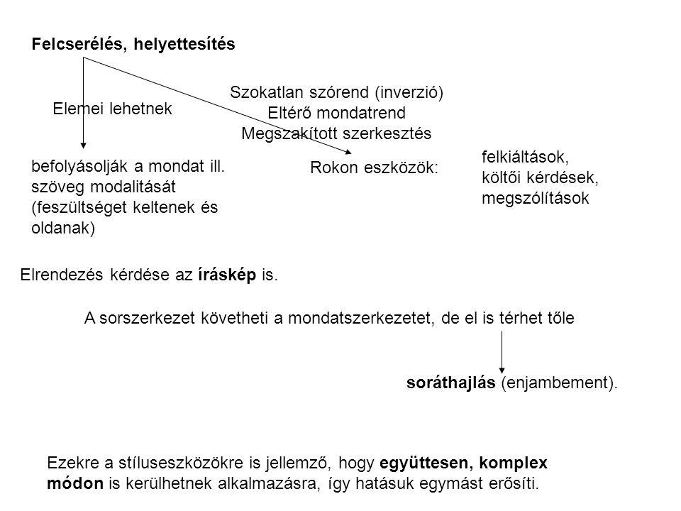 Felcserélés, helyettesítés Elemei lehetnek Szokatlan szórend (inverzió) Eltérő mondatrend Megszakított szerkesztés befolyásolják a mondat ill. szöveg