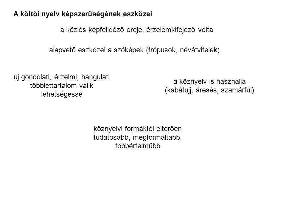 """metafora névátvitel tartalmi, hangulati egyezés vagy hasonlóság alapján Három eleme van Szokásos fogalmi sík (megnevezés) Alkalmi képi sík (megnevezés) A kettő közötti (azonosításon és különbözőségen alapuló) közös jegy mely csak a tudatunkban alakul ki, s nem mindig egyértelmű (= képzettársítás) elalvó nyírfaág Egytagú csak a képi sík jelenik meg Teljes szerepel a hasonlító és a hasonlított is (képi és fogalmi sík is) """"dunnába butt fönn a magas , """"amott ül egy túzok magában """"kezed elalvó nyírfaág , """"szemed tenger , """"vasvilág a rend , """"ütött az óra kezed (Lecsüngő, göcsörtös, vékony) Szerkesztettsége szempontjából Szófajok, mondatbeli viszonyok szerint is lehet többféle """"száll az idő (igés, A-Á viszonyú), """"szonettem nyakék (főnévi, A-Á viszonyú), """"néma föld (melléknévi, jelzős), stb."""