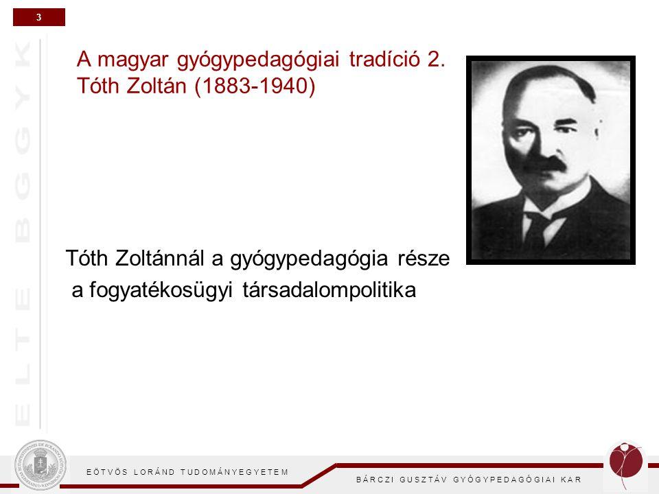 3 E Ö T V Ö S L O R Á N D T U D O M Á N Y E G Y E T E M B Á R C Z I G U S Z T Á V G Y Ó G Y P E D A G Ó G I A I K A R A magyar gyógypedagógiai tradíci