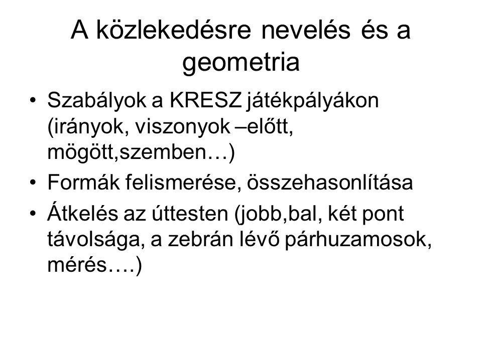 A közlekedésre nevelés és a geometria •Szabályok a KRESZ játékpályákon (irányok, viszonyok –előtt, mögött,szemben…) •Formák felismerése, összehasonlít