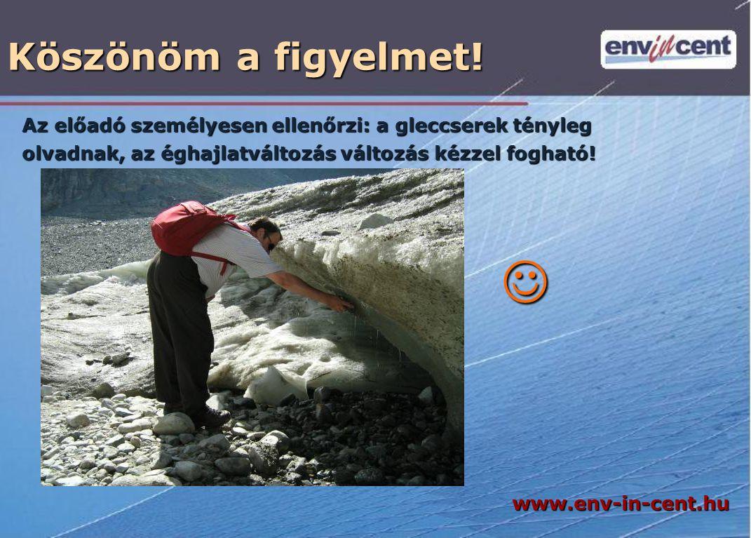 Köszönöm a figyelmet! Az előadó személyesen ellenőrzi: a gleccserek tényleg olvadnak, az éghajlatváltozás változás kézzel fogható!  www.env-in-cent.h