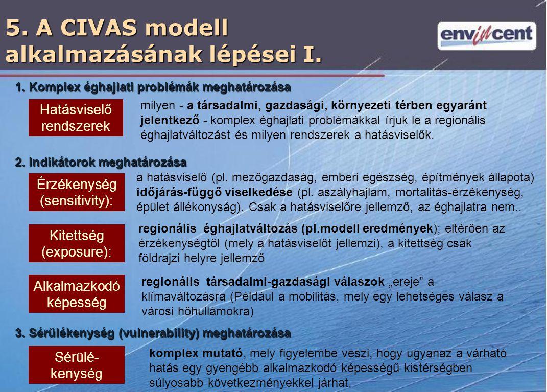5. A CIVAS modell alkalmazásának lépései I. Hatásviselő rendszerek milyen - a társadalmi, gazdasági, környezeti térben egyaránt jelentkező - komplex é