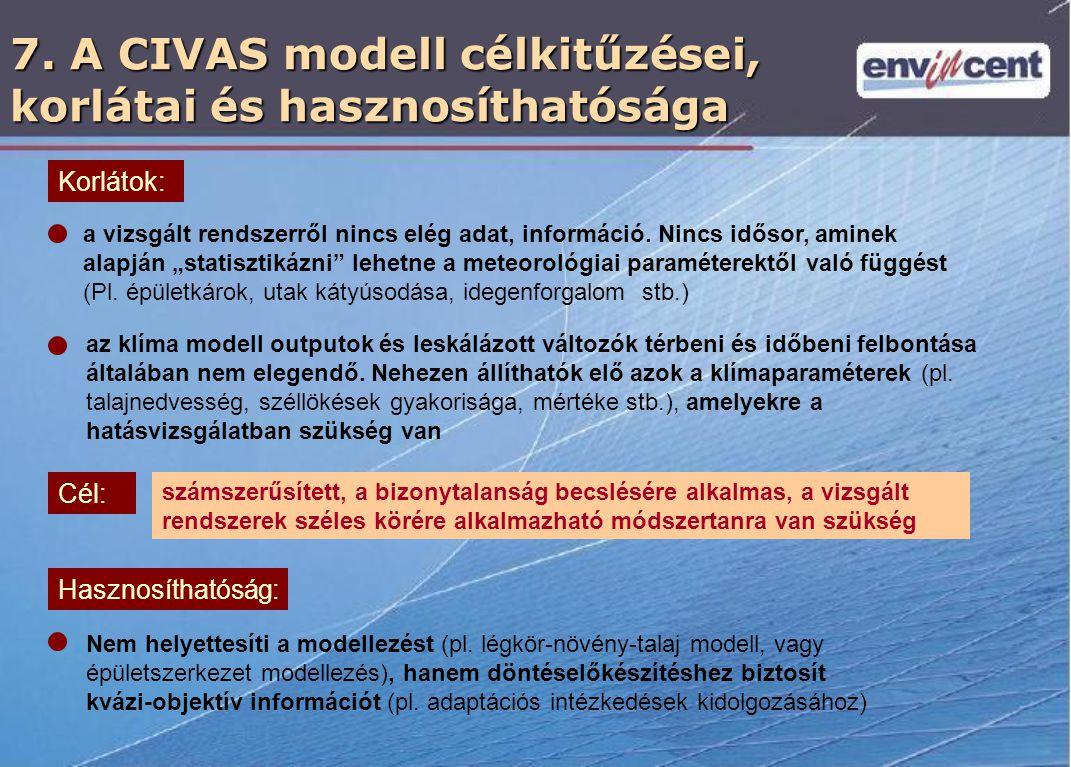 7. A CIVAS modell célkitűzései, korlátai és hasznosíthatósága az klíma modell outputok és leskálázott változók térbeni és időbeni felbontása általában