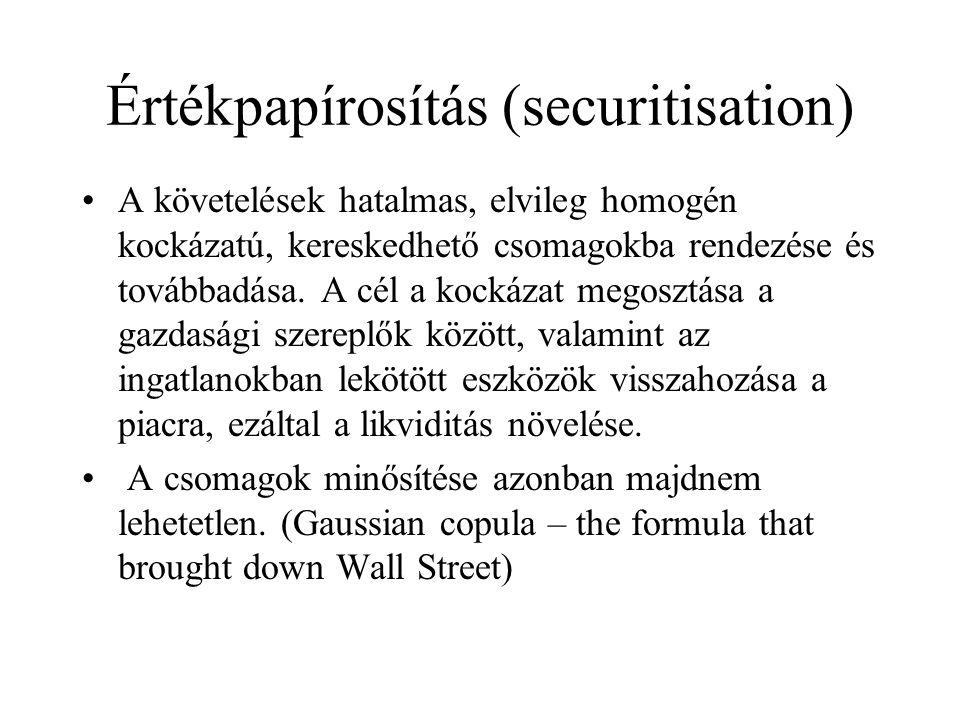 Értékpapírosítás (securitisation) •A követelések hatalmas, elvileg homogén kockázatú, kereskedhető csomagokba rendezése és továbbadása. A cél a kockáz