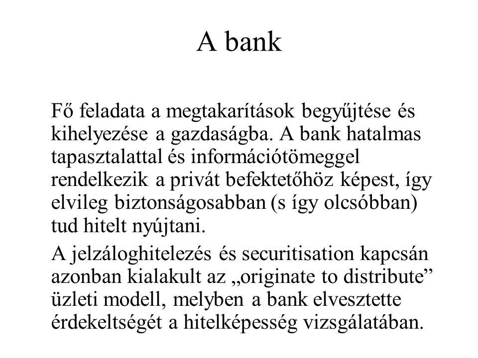 A bank Fő feladata a megtakarítások begyűjtése és kihelyezése a gazdaságba.