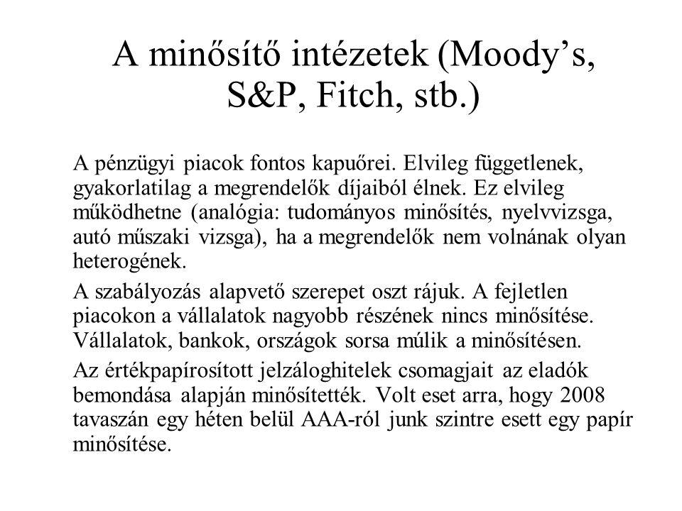 A minősítő intézetek (Moody's, S&P, Fitch, stb.) A pénzügyi piacok fontos kapuőrei. Elvileg függetlenek, gyakorlatilag a megrendelők díjaiból élnek. E