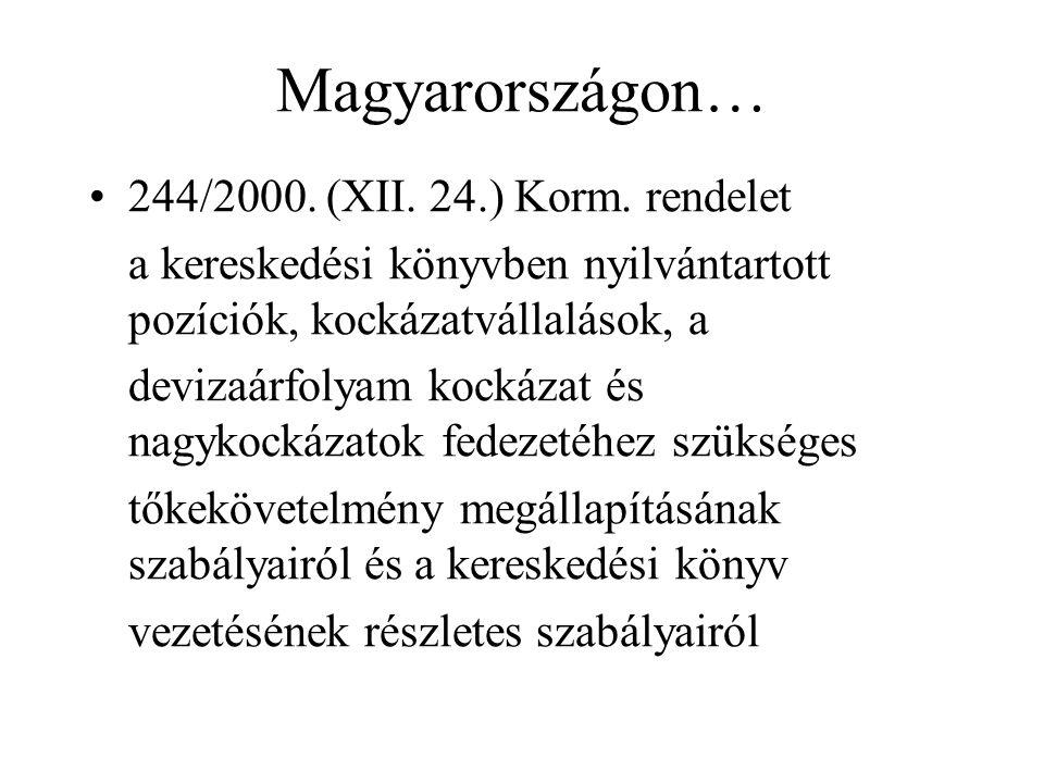 Magyarországon… •244/2000. (XII. 24.) Korm. rendelet a kereskedési könyvben nyilvántartott pozíciók, kockázatvállalások, a devizaárfolyam kockázat és