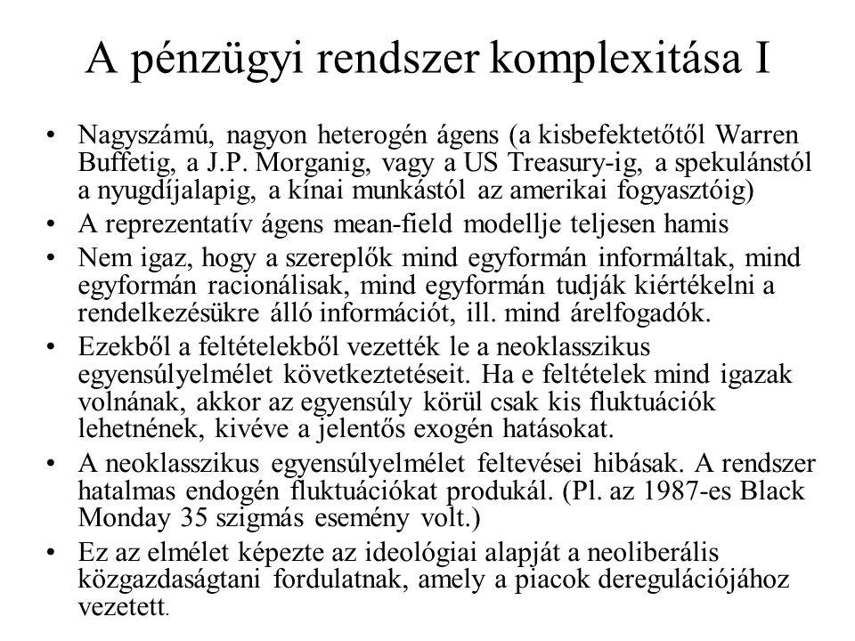 A pénzügyi rendszer komplexitása II •A rendszer elemei között erős kölcsönhatás van (pl.