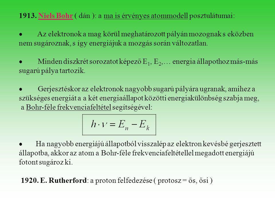 1913. Niels Bohr ( dán ): a ma is érvényes atommodell posztulátumai:  Az elektronok a mag körül meghatározott pályán mozognak s eközben nem sugározna