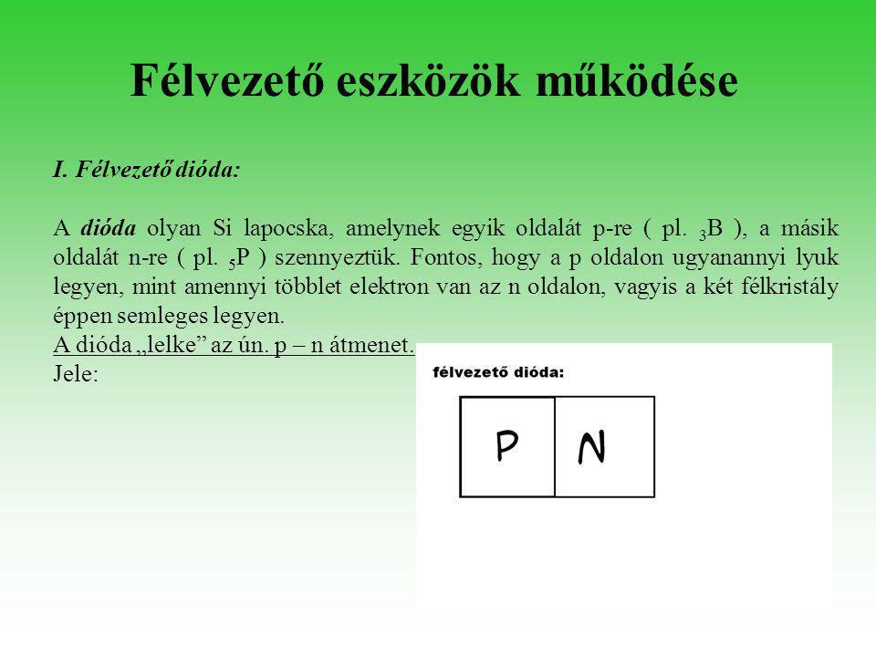 I. Félvezető dióda: A dióda olyan Si lapocska, amelynek egyik oldalát p-re ( pl. 3 B ), a másik oldalát n-re ( pl. 5 P ) szennyeztük. Fontos, hogy a p