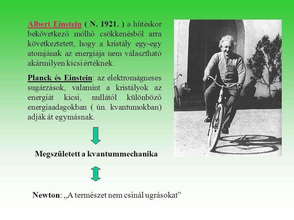 Albert EinsteinAlbert Einstein ( N. 1921. ) a hűtéskor bekövetkező mólhő csökkenésből arra következtetett, hogy a kristály egy-egy atomjának az energi