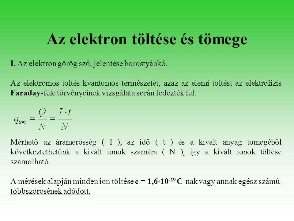 Az elektron töltése és tömege I. Az elektron görög szó, jelentése borostyánkő. Az elektromos töltés kvantumos természetét, azaz az elemi töltést az el