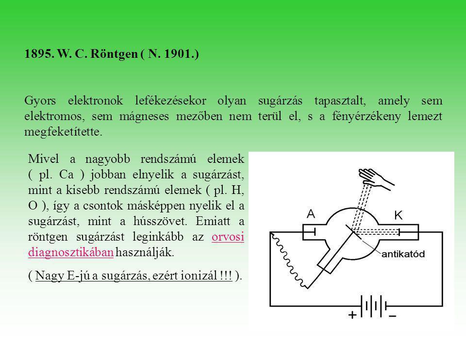 1895. W. C. Röntgen ( N. 1901.) Gyors elektronok lefékezésekor olyan sugárzás tapasztalt, amely sem elektromos, sem mágneses mezőben nem terül el, s a