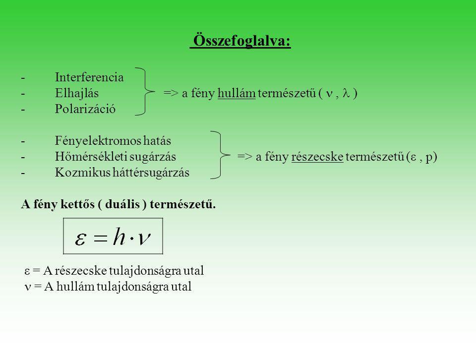 Összefoglalva: - Interferencia - Elhajlás=> a fény hullám természetű ( ,  ) - Polarizáció - Fényelektromos hatás - Hőmérsékleti sugárzás => a fény r
