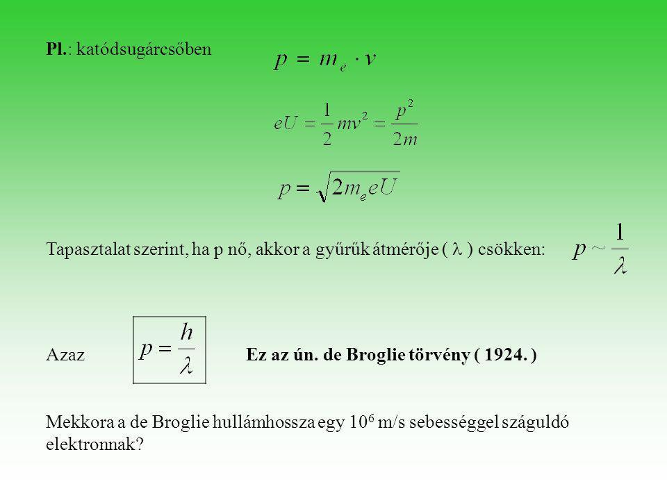 Pl.: katódsugárcsőben Tapasztalat szerint, ha p nő, akkor a gyűrűk átmérője (  ) csökken: Azaz Ez az ún. de Broglie törvény ( 1924. ) Mekkora a de Br