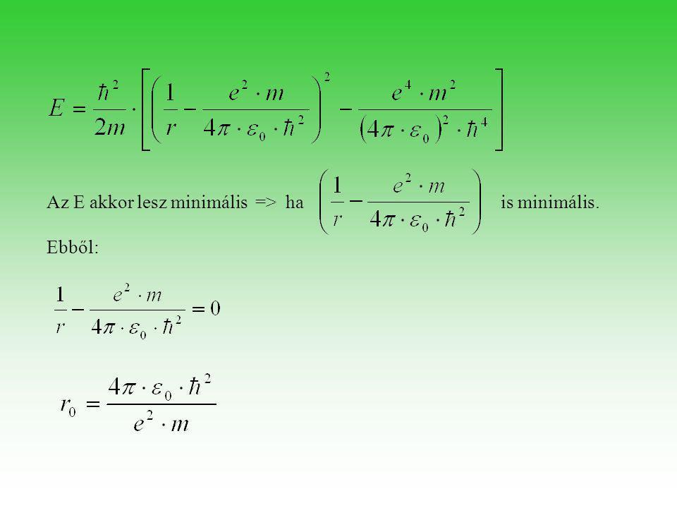 Az E akkor lesz minimális => ha is minimális. Ebből: