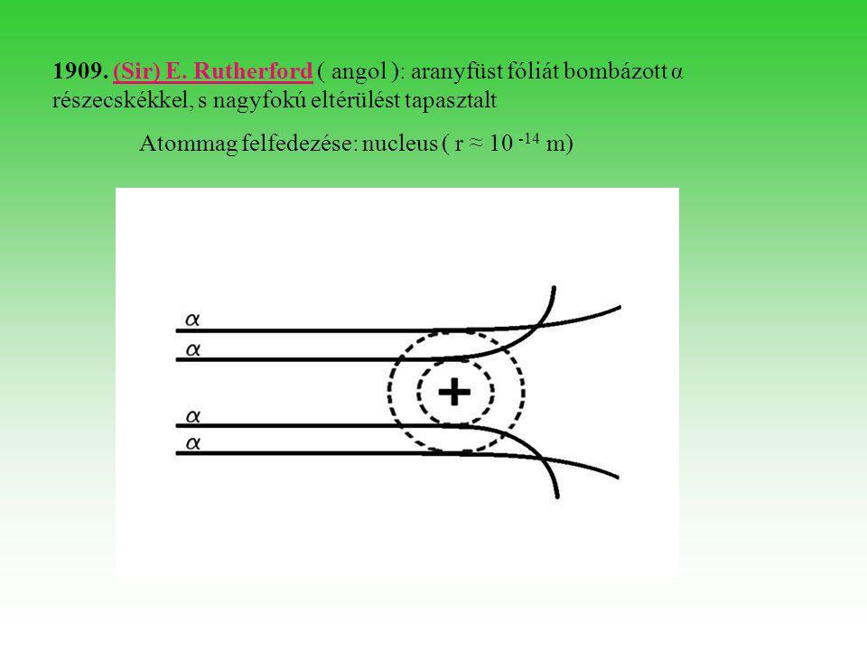 A hidrogénatom elektronjának lehetséges állapotait energia és méret szempontjából az n = k + 1 természetes szám határozza meg.