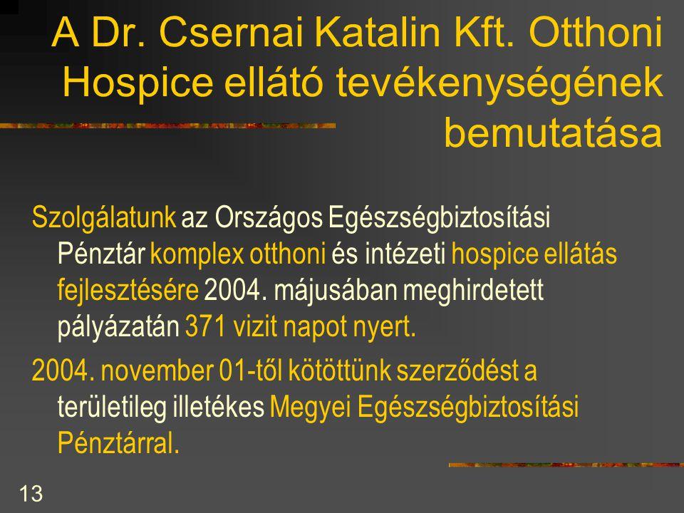 13 A Dr. Csernai Katalin Kft. Otthoni Hospice ellátó tevékenységének bemutatása Szolgálatunk az Országos Egészségbiztosítási Pénztár komplex otthoni é