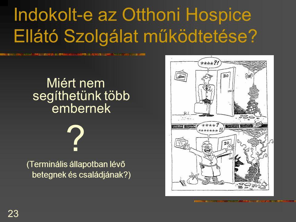 23 Indokolt-e az Otthoni Hospice Ellátó Szolgálat működtetése? Miért nem segíthetünk több embernek ? (Terminális állapotban lévő betegnek és családján
