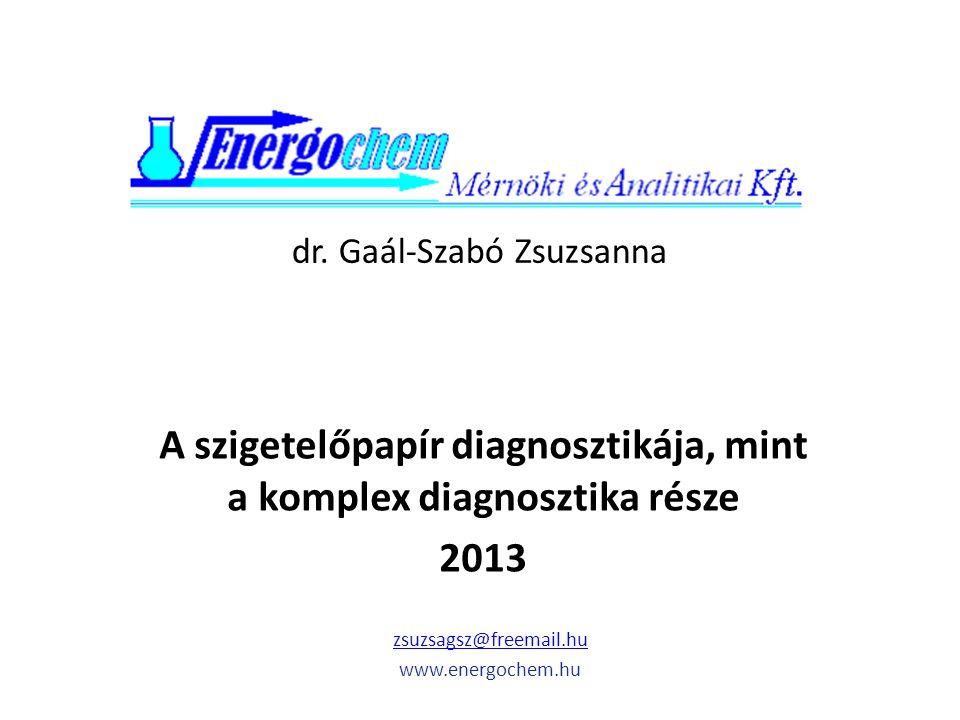 dr. Gaál-Szabó Zsuzsanna A szigetelőpapír diagnosztikája, mint a komplex diagnosztika része 2013 zsuzsagsz@freemail.hu www.energochem.hu