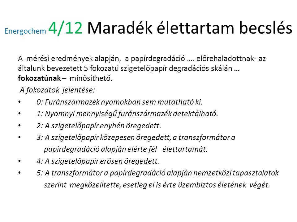 Energochem 4/12 Maradék élettartam becslés A mérési eredmények alapján, a papírdegradáció ….