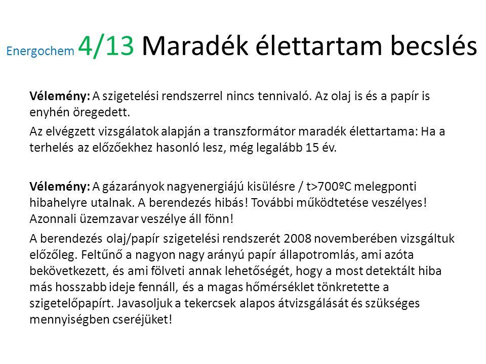 Energochem 4/13 Maradék élettartam becslés Vélemény: A szigetelési rendszerrel nincs tennivaló.