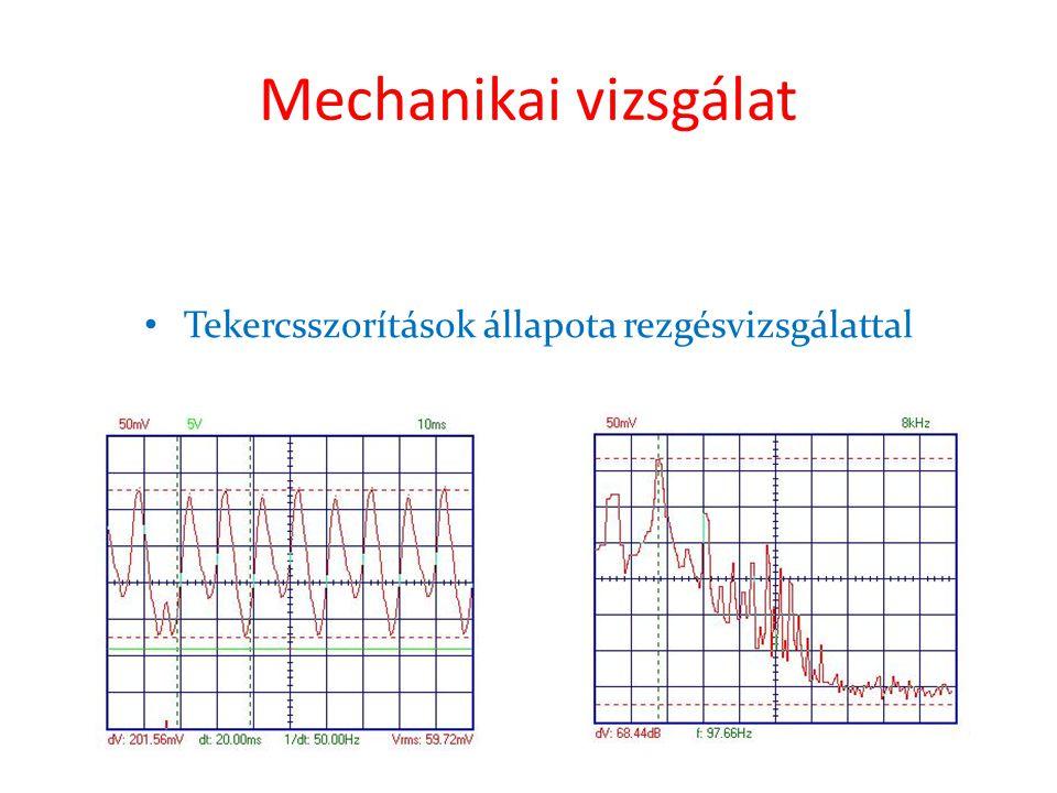 Mechanikai vizsgálat • Tekercsszorítások állapota rezgésvizsgálattal