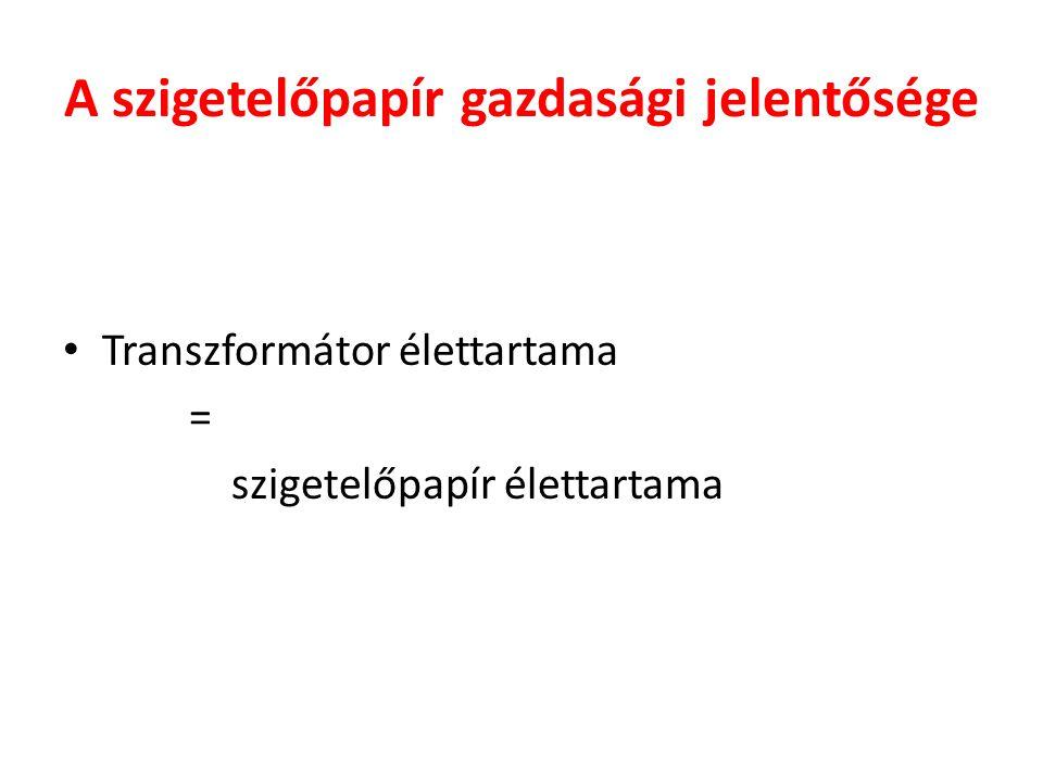 A szigetelőpapír gazdasági jelentősége • Transzformátor élettartama = szigetelőpapír élettartama