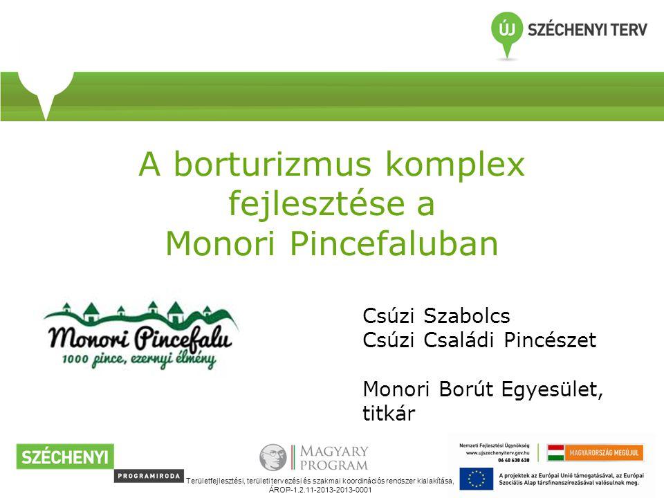 A borturizmus komplex fejlesztése a Monori Pincefaluban Területfejlesztési, területi tervezési és szakmai koordinációs rendszer kialakítása, ÁROP-1.2.11-2013-2013-0001 Csúzi Szabolcs Csúzi Családi Pincészet Monori Borút Egyesület, titkár