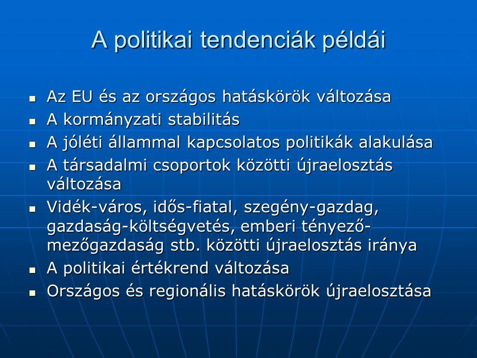 A politikai tendenciák példái  Az EU és az országos hatáskörök változása  A kormányzati stabilitás  A jóléti állammal kapcsolatos politikák alakulása  A társadalmi csoportok közötti újraelosztás változása  Vidék-város, idős-fiatal, szegény-gazdag, gazdaság-költségvetés, emberi tényező- mezőgazdaság stb.