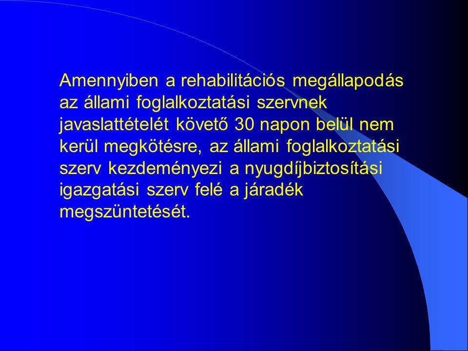 Amennyiben a rehabilitációs megállapodás az állami foglalkoztatási szervnek javaslattételét követő 30 napon belül nem kerül megkötésre, az állami foglalkoztatási szerv kezdeményezi a nyugdíjbiztosítási igazgatási szerv felé a járadék megszüntetését.