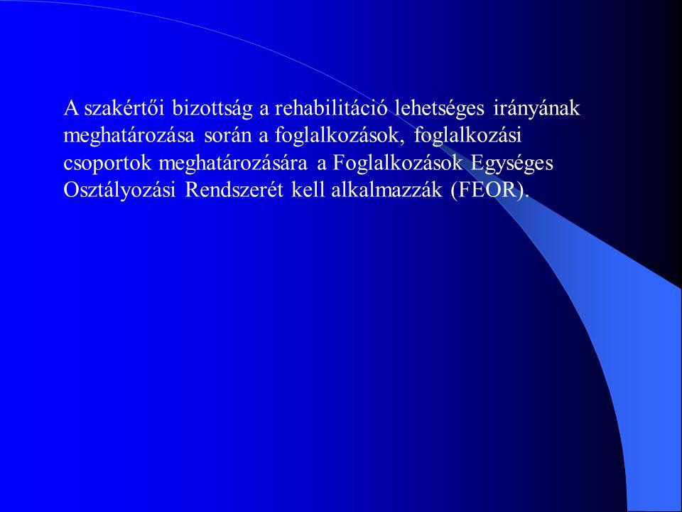 A szakértői bizottság a rehabilitáció lehetséges irányának meghatározása során a foglalkozások, foglalkozási csoportok meghatározására a Foglalkozások Egységes Osztályozási Rendszerét kell alkalmazzák (FEOR).