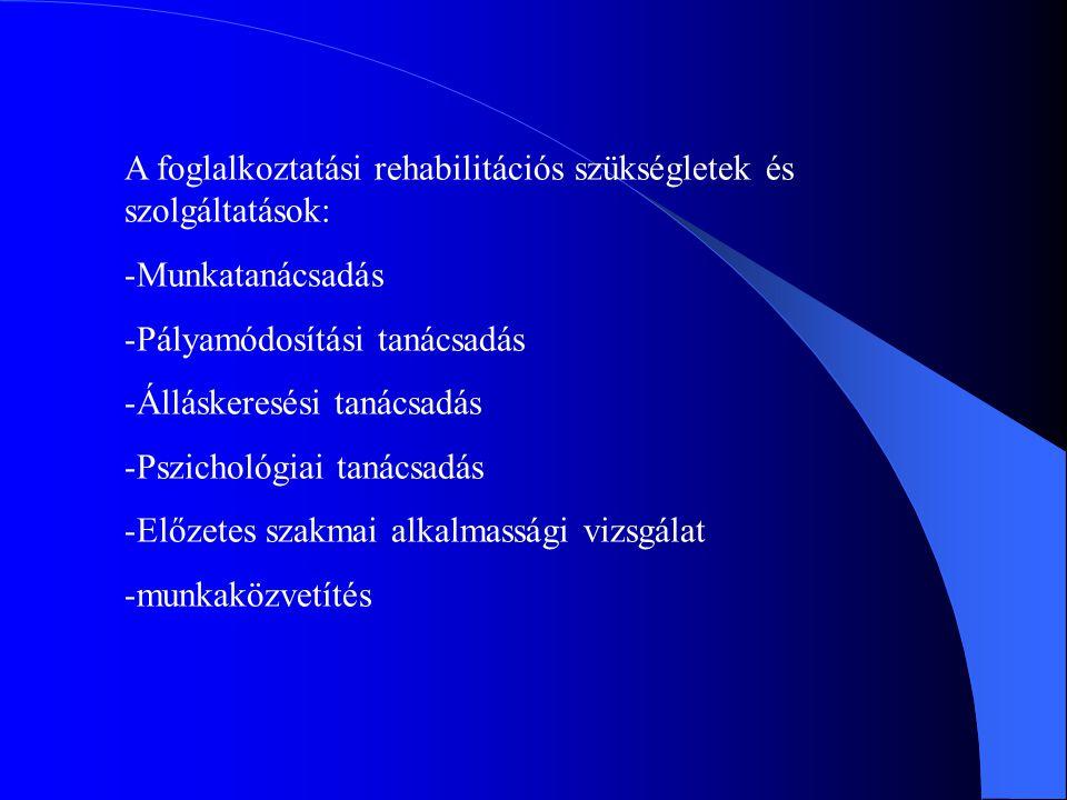A foglalkoztatási rehabilitációs szükségletek és szolgáltatások: -Munkatanácsadás -Pályamódosítási tanácsadás -Álláskeresési tanácsadás -Pszichológiai tanácsadás -Előzetes szakmai alkalmassági vizsgálat -munkaközvetítés