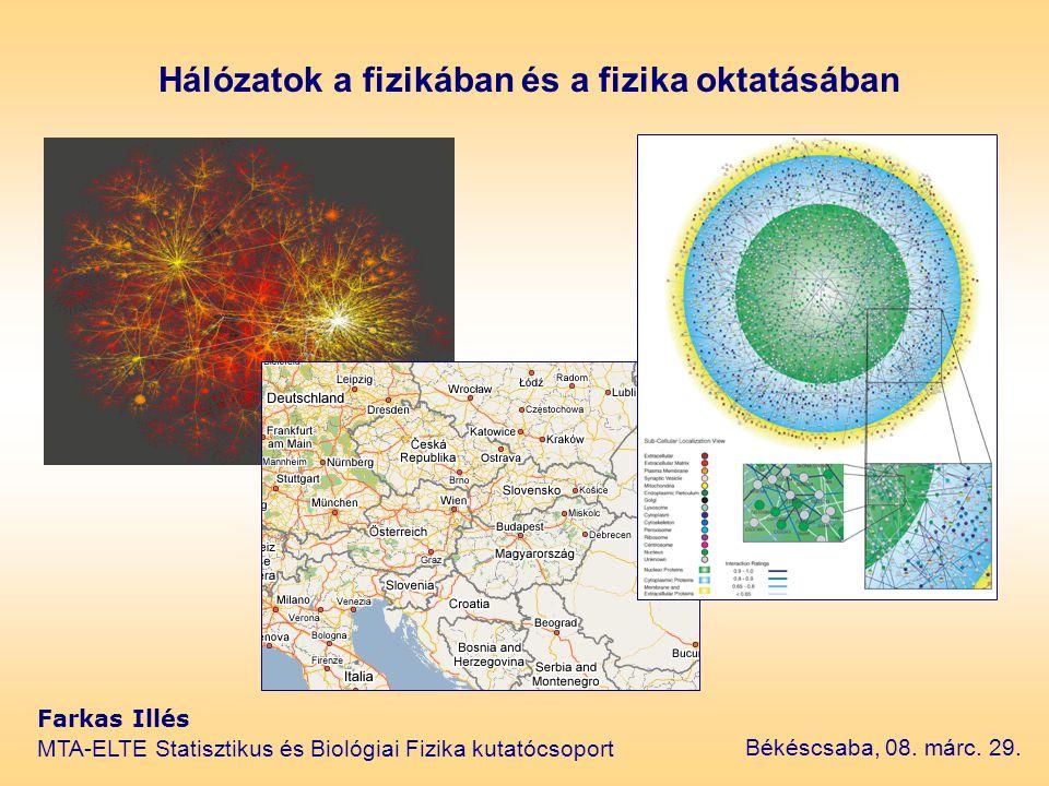 Hálózatok a fizikában és a fizika oktatásában Farkas Illés MTA-ELTE Statisztikus és Biológiai Fizika kutatócsoport Békéscsaba, 08. márc. 29.