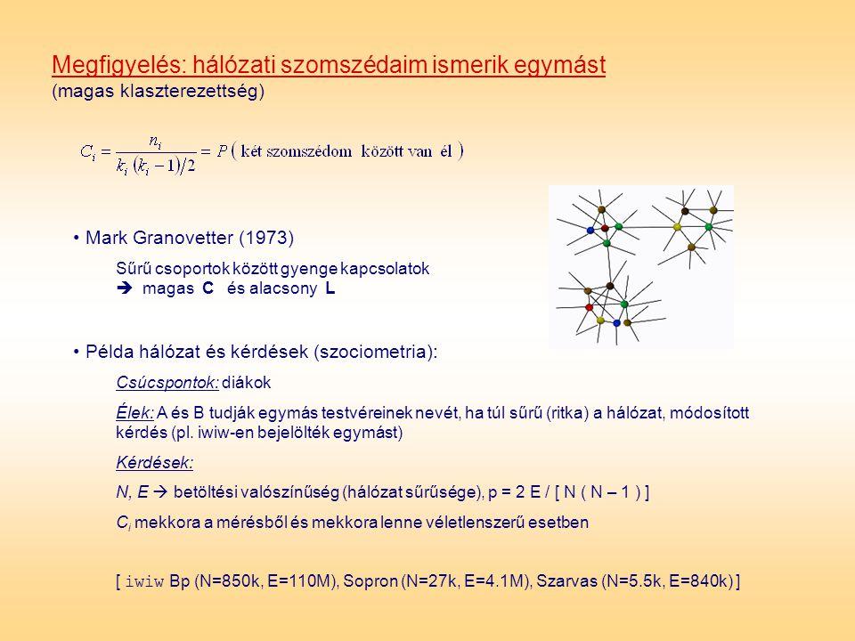 Megfigyelés: hálózati szomszédaim ismerik egymást (magas klaszterezettség) • Példa hálózat és kérdések (szociometria): Csúcspontok: diákok Élek: A és
