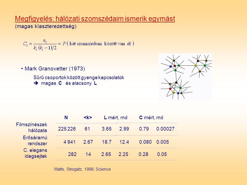 Megfigyelés: hálózati szomszédaim ismerik egymást (magas klaszterezettség) • Mark Granovetter (1973) Sűrű csoportok között gyenge kapcsolatok  magas