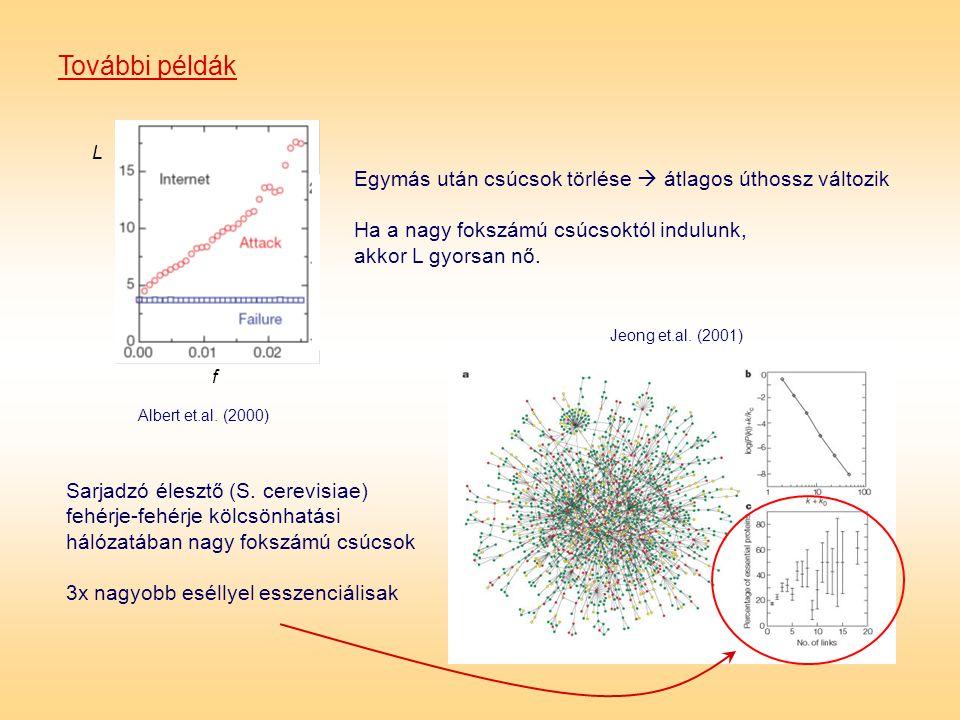 További példák Albert et.al. (2000) f L Jeong et.al. (2001) Egymás után csúcsok törlése  átlagos úthossz változik Ha a nagy fokszámú csúcsoktól indul