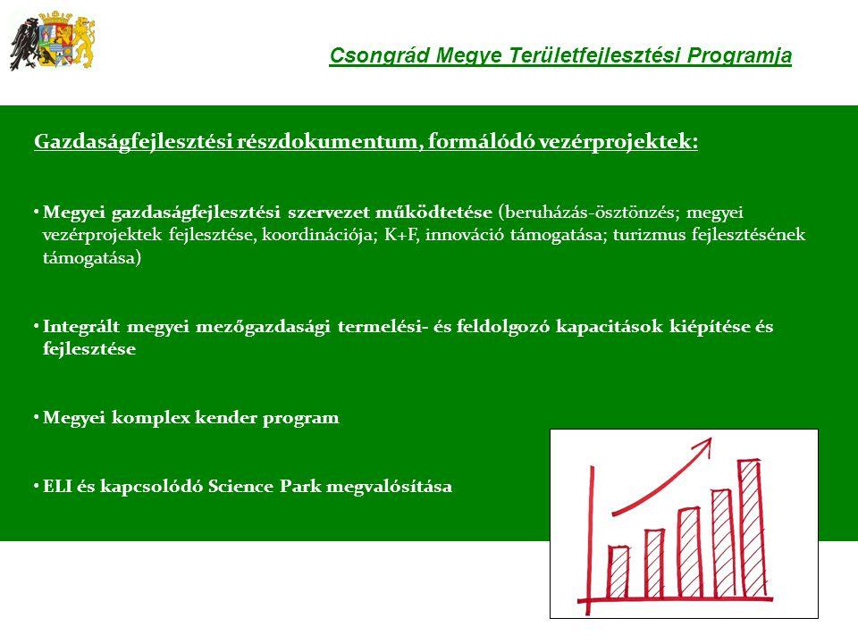 Csongrád Megye Területfejlesztési Programja Gazdaságfejlesztési részdokumentum, formálódó vezérprojektek: •Megyei gazdaságfejlesztési szervezet működt