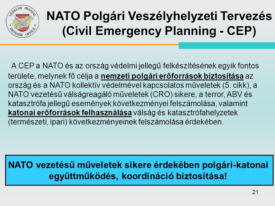 21 NATO vezetésű műveletek sikere érdekében polgári-katonai együttműködés, koordináció biztosítása! A CEP a NATO és az ország védelmi jellegű felkészí
