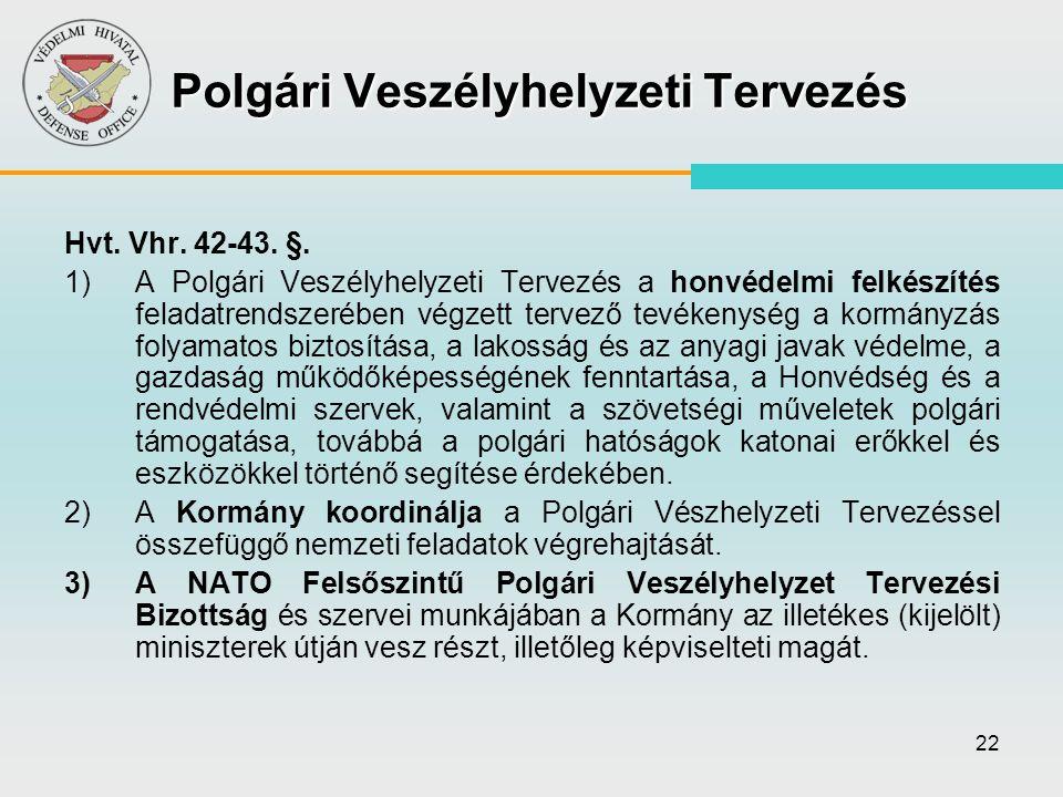 22 Polgári Veszélyhelyzeti Tervezés Hvt. Vhr. 42-43. §. 1)A Polgári Veszélyhelyzeti Tervezés a honvédelmi felkészítés feladatrendszerében végzett terv