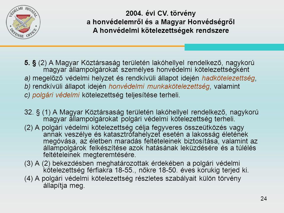 24 5. § (2) A Magyar Köztársaság területén lakóhellyel rendelkező, nagykorú magyar állampolgárokat személyes honvédelmi kötelezettségként a) megelőző