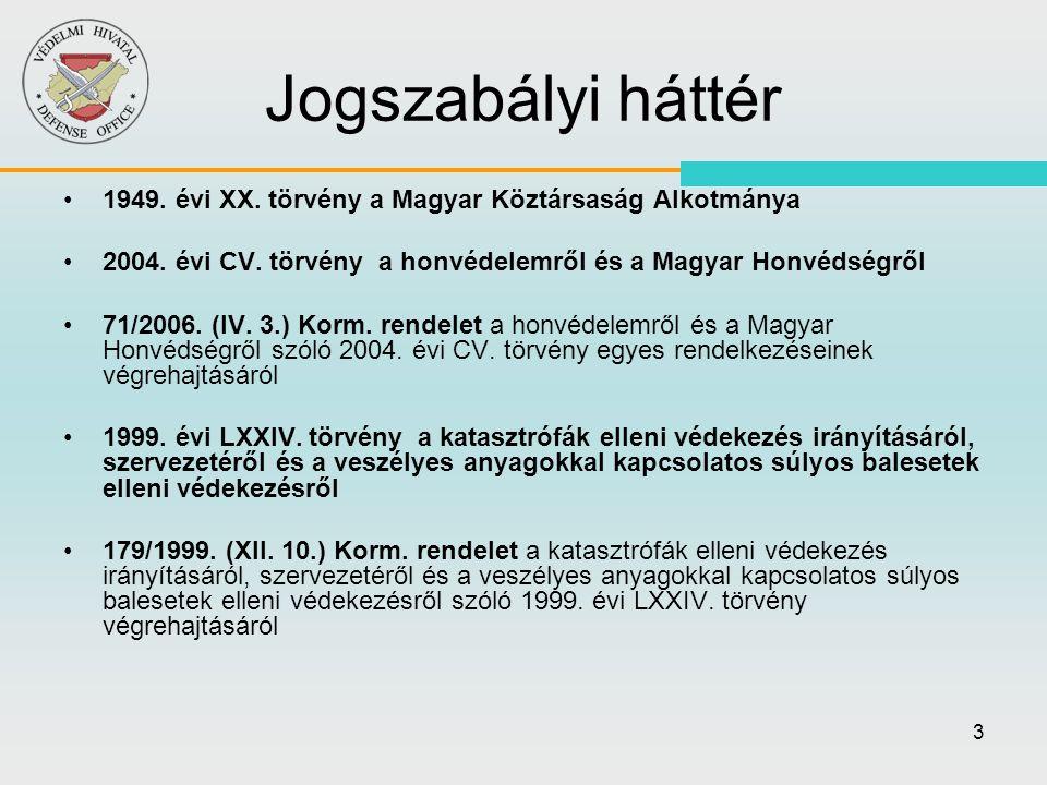 3 Jogszabályi háttér •1949. évi XX. törvény a Magyar Köztársaság Alkotmánya •2004. évi CV. törvény a honvédelemről és a Magyar Honvédségről •71/2006.
