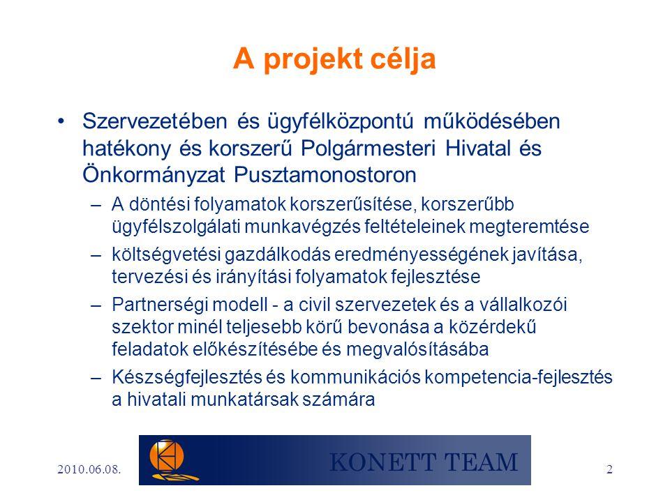 2 A projekt célja •Szervezetében és ügyfélközpontú működésében hatékony és korszerű Polgármesteri Hivatal és Önkormányzat Pusztamonostoron –A döntési folyamatok korszerűsítése, korszerűbb ügyfélszolgálati munkavégzés feltételeinek megteremtése –költségvetési gazdálkodás eredményességének javítása, tervezési és irányítási folyamatok fejlesztése –Partnerségi modell - a civil szervezetek és a vállalkozói szektor minél teljesebb körű bevonása a közérdekű feladatok előkészítésébe és megvalósításába –Készségfejlesztés és kommunikációs kompetencia-fejlesztés a hivatali munkatársak számára 2010.06.08.
